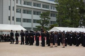 海上自衛隊第1術科学校記念式典であいさつする 斉藤鉄夫